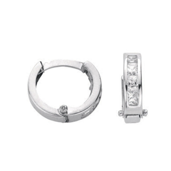 9ct White Gold Princess Cut CZ Hoop Earrings (1.1g)