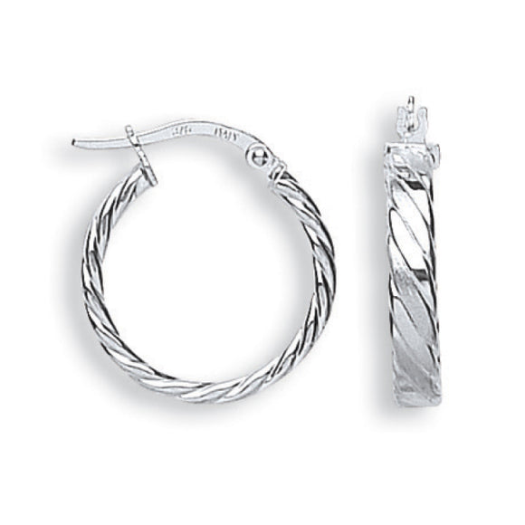 9ct White Gold Fancy Twisted Hoop Earrings (1.3g)