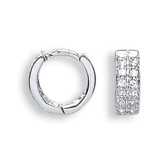 9ct White Gold CZ Huggies (2.4g)