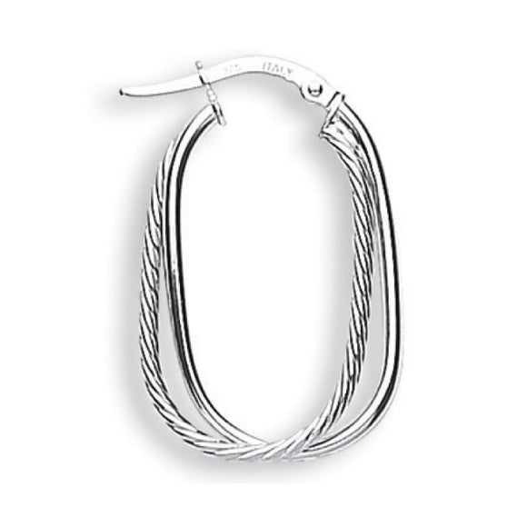 9ct White Gold Fancy Double Hoop Earrings (1.5g)