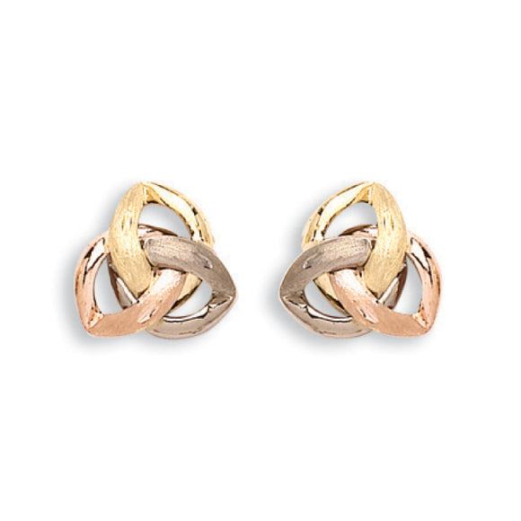 9ct Yellow, White & Rose Gold Fancy Stud Earrings (1.6g)