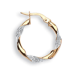9ct Yellow & White Gold Glitter Finish Twisted Hoop Earrings (1g)