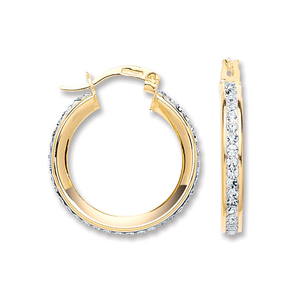 9ct Yellow Gold Round Crystal Hoop Earrings (2.2g)