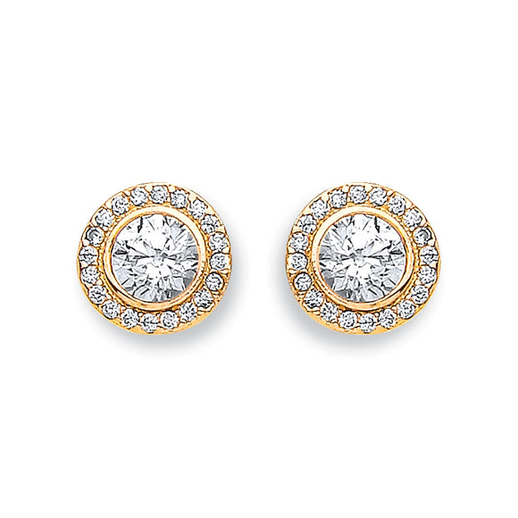 9ct Yellow Gold Halo Stud Earrings (1.6g)