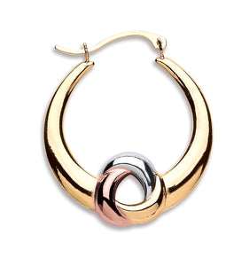 9ct Yellow, White & Rose Gold Hoop Earrings