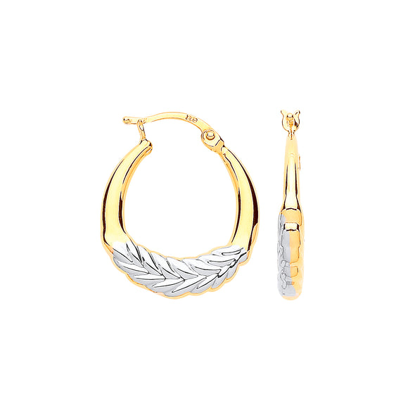 9ct Yellow & White Gold Barley Leaf Hoop Earrings 23.5*20mm