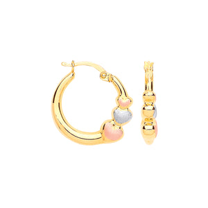 9ct Yellow Gold with Rose & White Gold Satin Finish Hearts Hoop Earrings