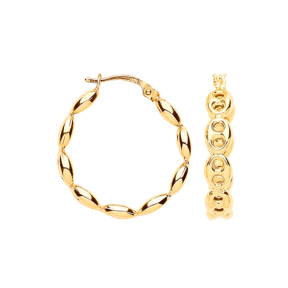 9ct Yellow Gold Coffee Bean 20mm Hoop Earrings 2.5g