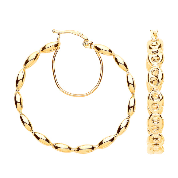 9ct Yellow Gold Coffee Bean 30mm Hoop Earrings 4.1g
