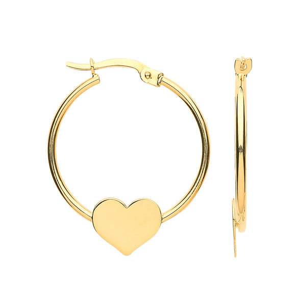 9ct Yellow Gold Hoop with Heart Earrings 28*23mm