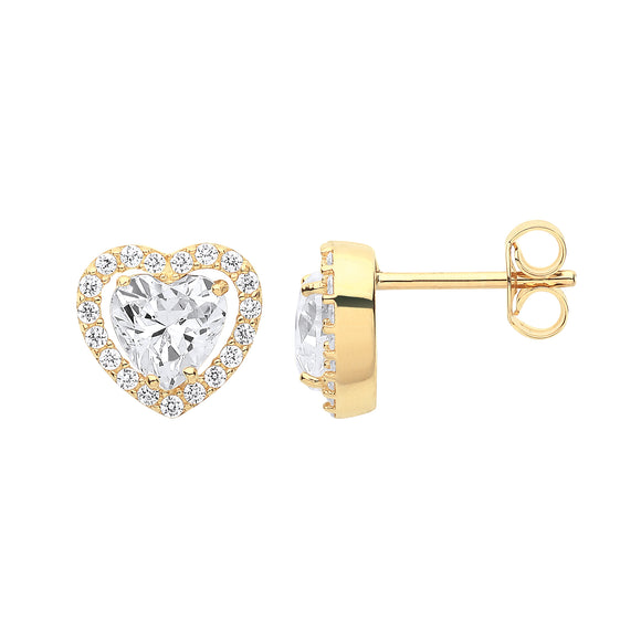 9ct Yellow Gold Heart Halo CZ Stud Earrings (1.9g)