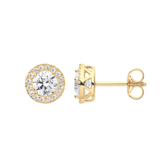 9ct Yellow Gold Round CZ Halo Stud Earrings (1.5g)