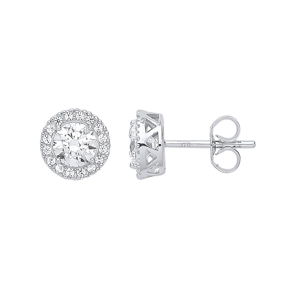 9ct White Gold Round CZ Halo Stud Earrings (1.5g)