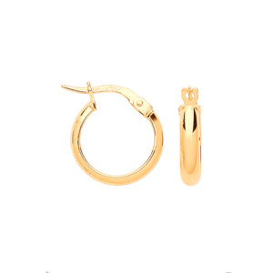 9ct Yellow Gold Small 14mm Hoop Earrings