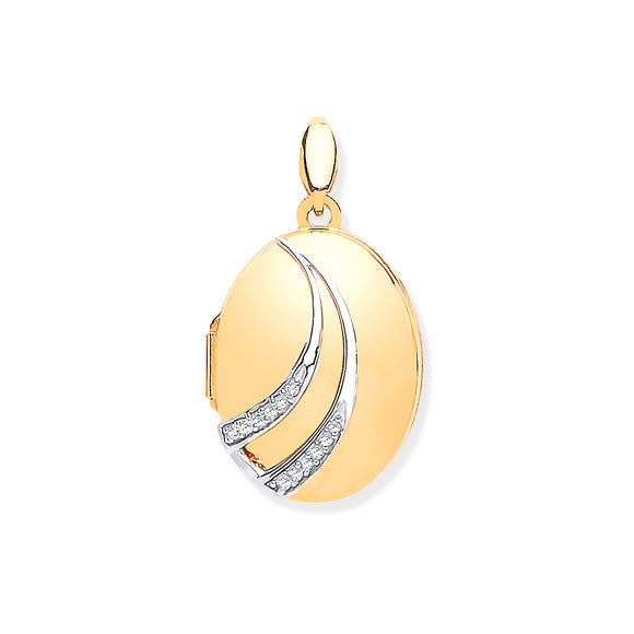 9ct Yellow Gold & Diamonds Oval Locket