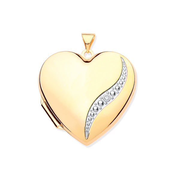 9ct Yellow Gold Large Heart Shape Locket with Diamond