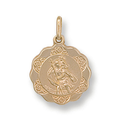 9ct Yellow Gold Fancy St Christopher Pendant (1.2g)