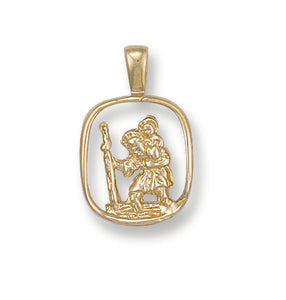 9ct Yellow Gold Cut Out St Christopher Pendant (1.9g)