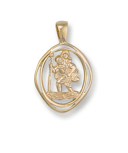 9ct Yellow Gold Cut Out St Christopher Pendant (1.8g)