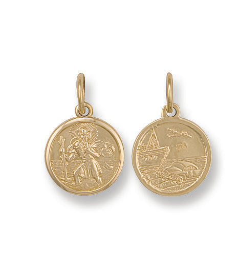 9ct Yellow Gold Double-Sided St Christopher Pendant (3.3g)