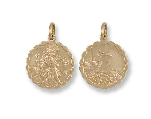 9ct Yellow Gold Double-Sided Fancy St Christopher Pendant (3.9g)