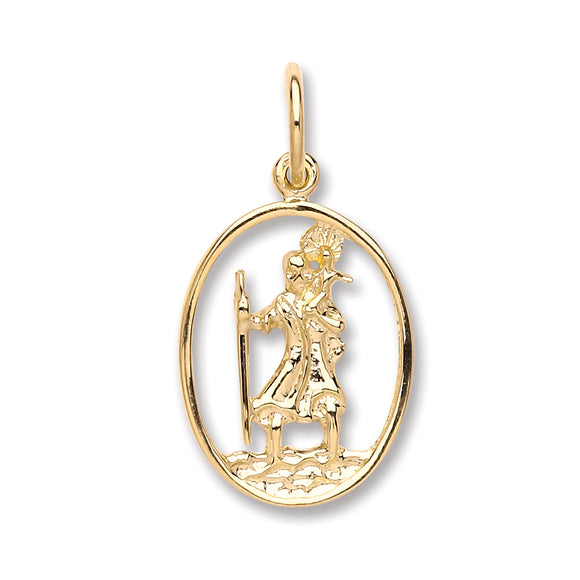 9ct Yellow Gold St Christopher Pendant (1.3g)