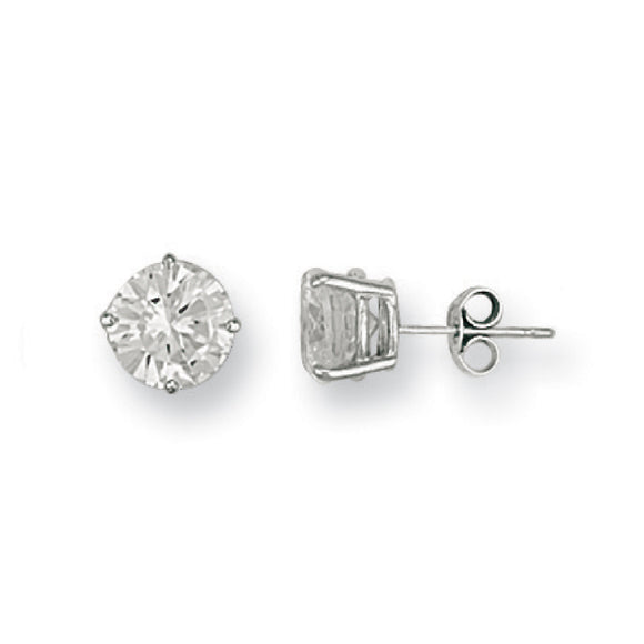 9ct White Gold 8mm Claw Set CZ Studs