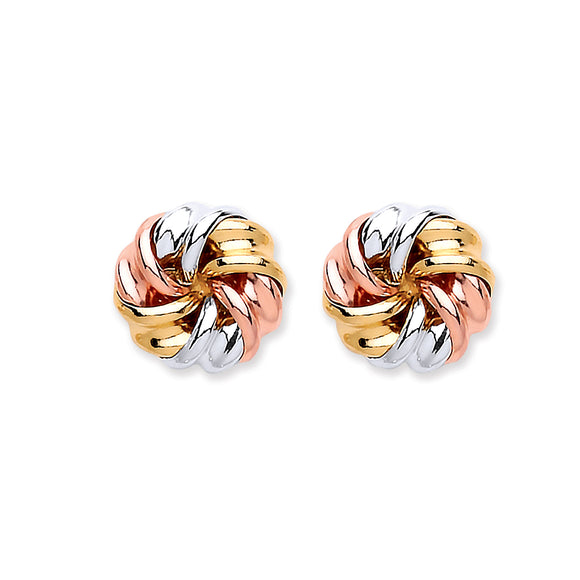 9ct Yellow, White & Rose Gold Tight Knot Studs