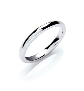 18ct White Gold 2mm Court Shape Wedding Band 2.8g