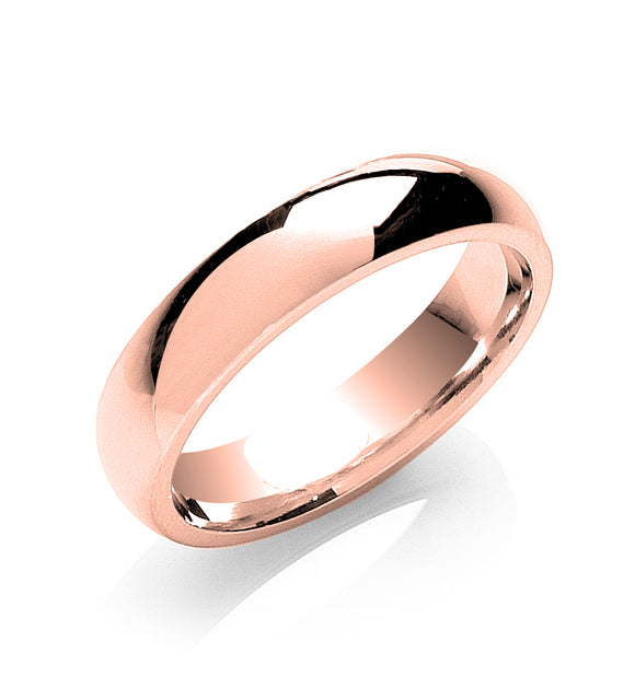 18ct Rose Gold 5mm Court Shape Wedding Band 5.8g