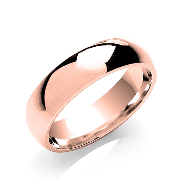 9ct Rose Gold 6mm Court Shape Wedding Band 6.9g
