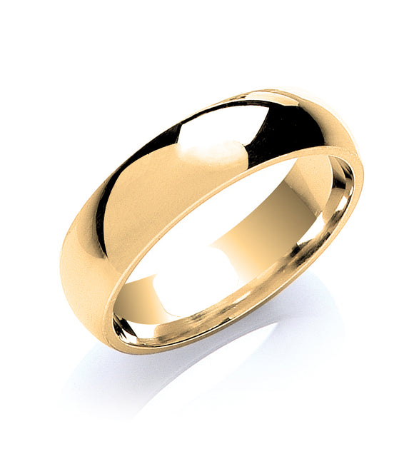 9ct Yellow Gold 6mm Court Shape Wedding Band 6.9g
