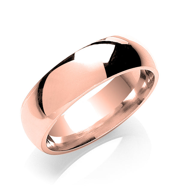 18ct Rose Gold 7mm Court Shape Wedding Band 7.9g