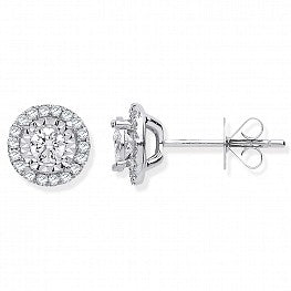 18ct White Gold Halo 0.47ct Diamond Studs