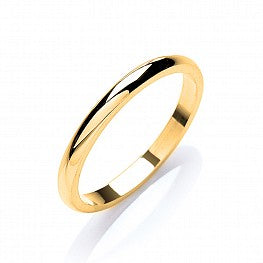9ct Yellow Gold 2mm Plain D Shape Wedding Band (2.7g)