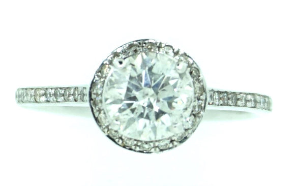 Halo Diamond Ring 1.3ct in 18ct White Gold / Engagement Ring
