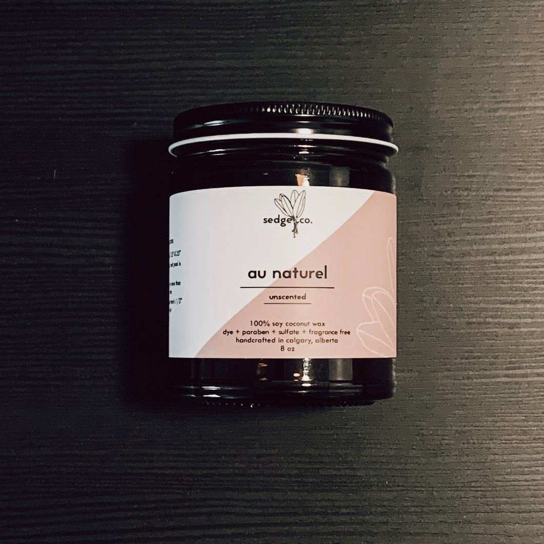 Au Naturel unscented candle