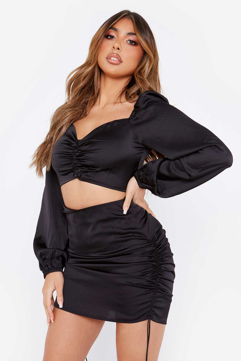 Black Satin Button Front Top