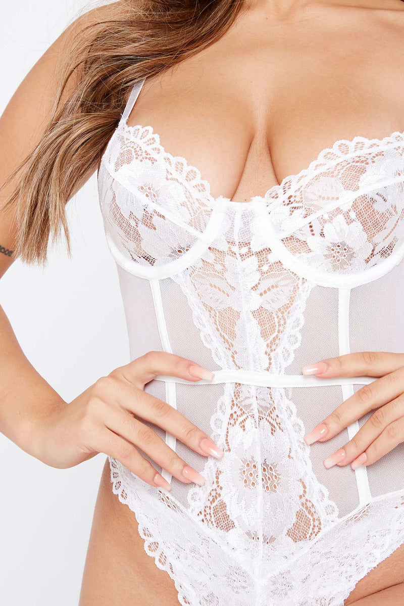 White Lace Bodysuit with Underwire