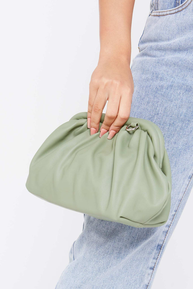 Mint Green Scrunch Clutch Bag