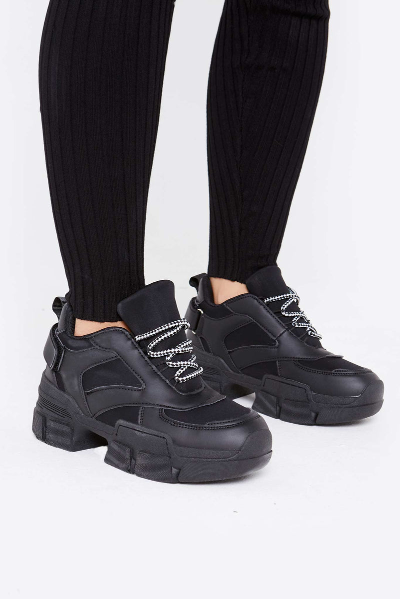 Luna Chunky Trainers in Black Vegan Leather