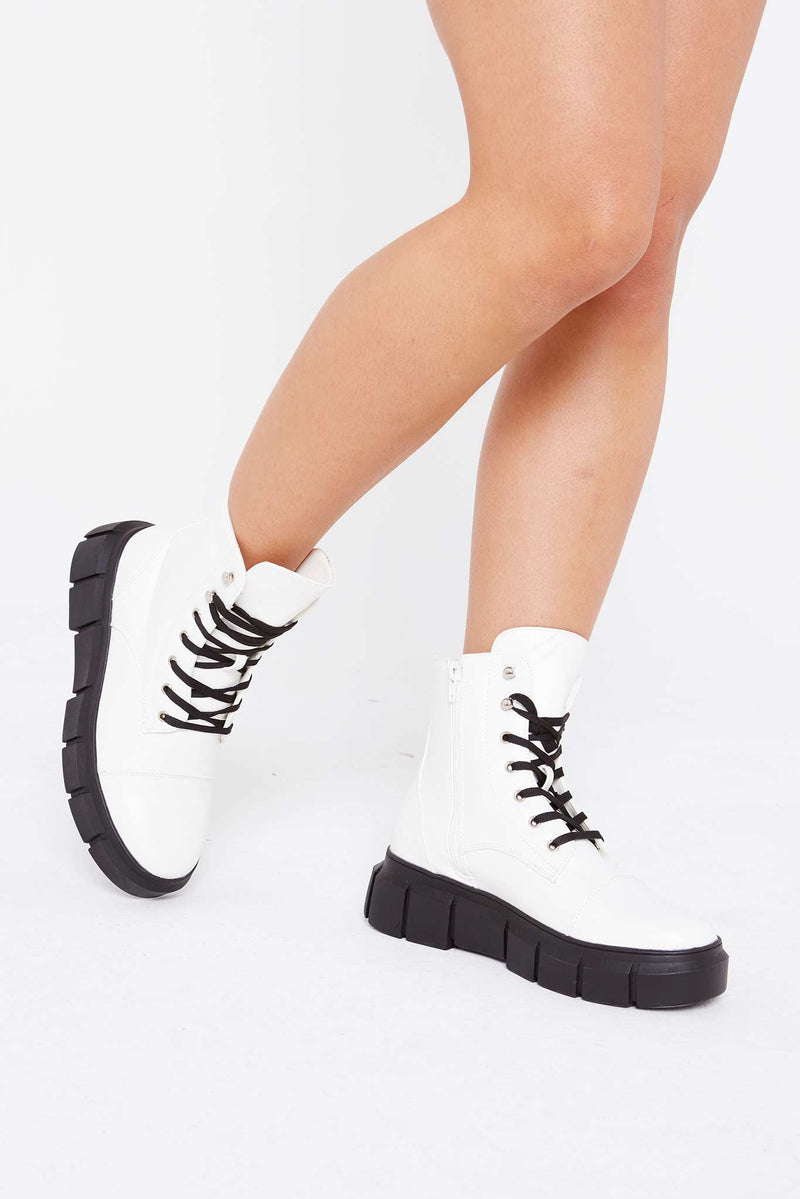 Allura Chunky Boots in White Vegan Leather