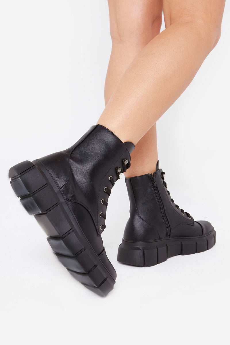 Allura Chunky Boots in Black Vegan Leather