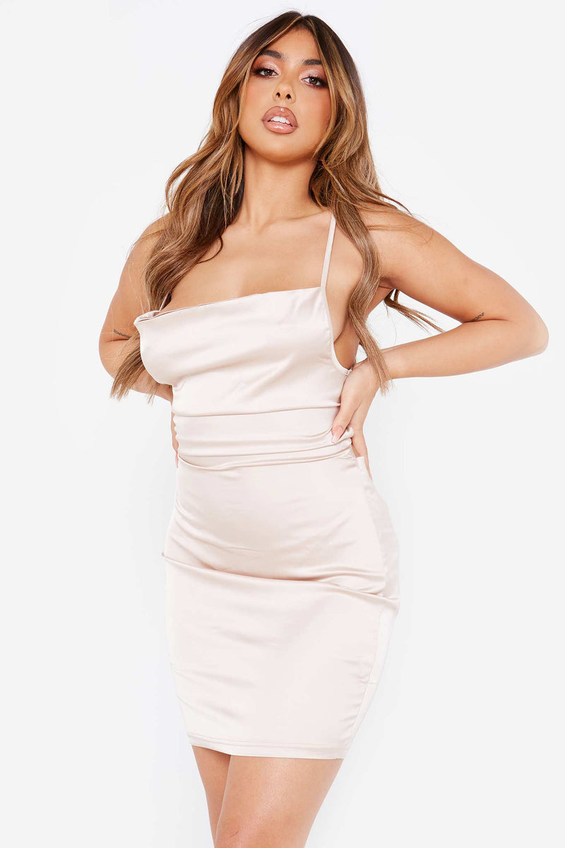 Beige Satin Cowl Lace Up Mini Bodycon Dress