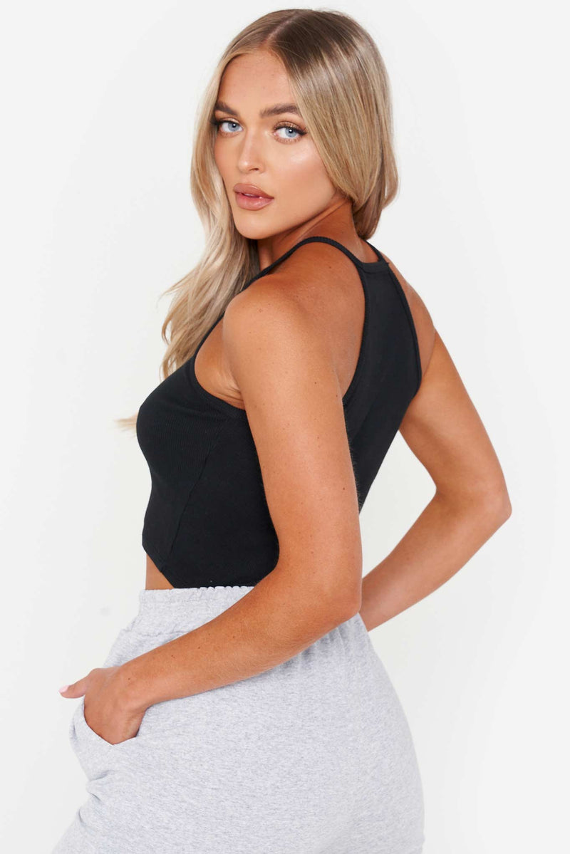 Black High Neck Racer Crop Top