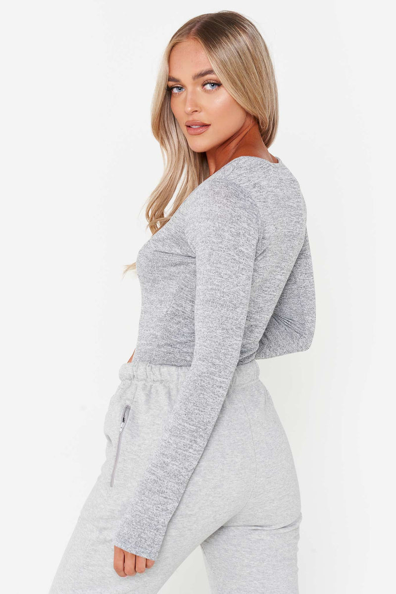 Grey Popper Button Front Ribbed Bodysuit