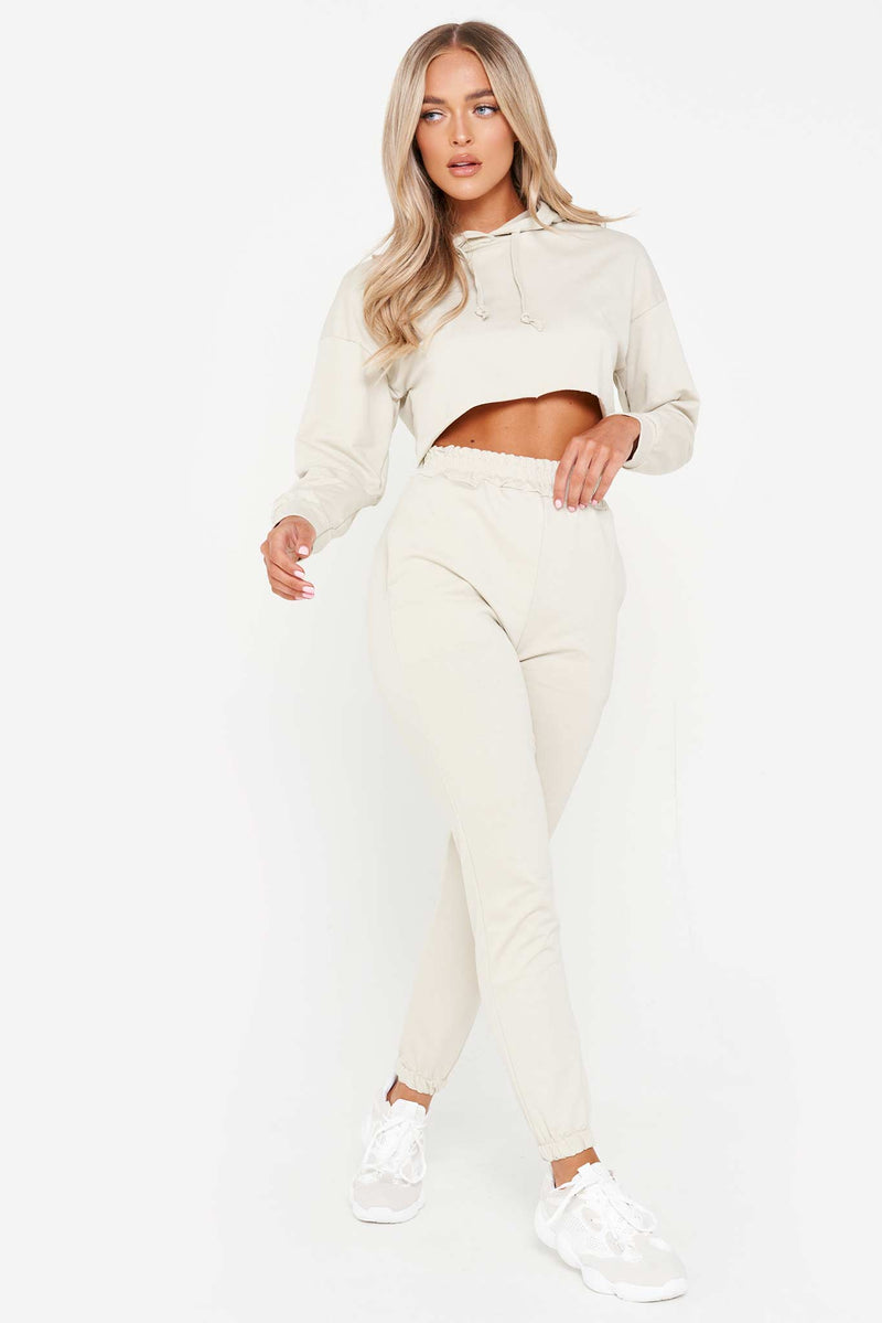 Stone Cropped Hoodie & Loop Back Jogger Set