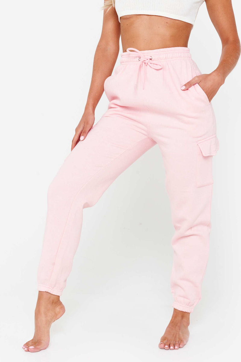 Pink Pocket Detail Cargo Joggers