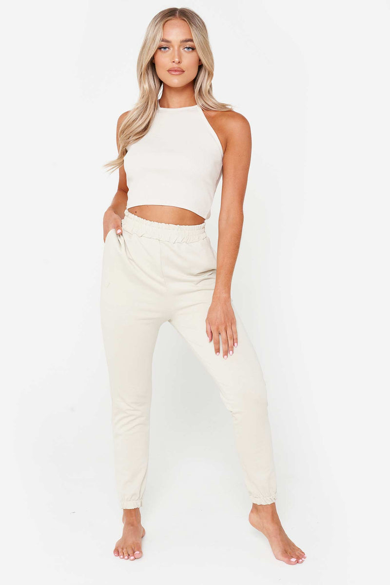 Beige High Neck Racer Crop Top