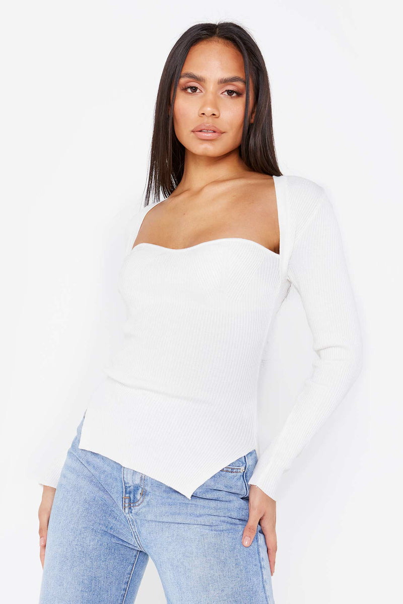 White Knitted Corset Top